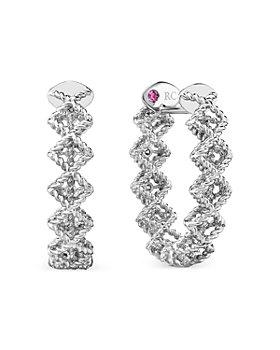 Roberto Coin - 18K White Gold Roman Barocco Diamond Oval Hoop Earrings