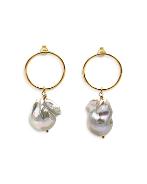 Cultured Freshwater Baroque Pearl Drop Earrings