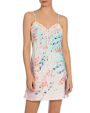 Satin Ombre Floral Print Chemise Nightgown