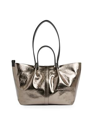 Allsaints Allington Small Metallic Leather Tote