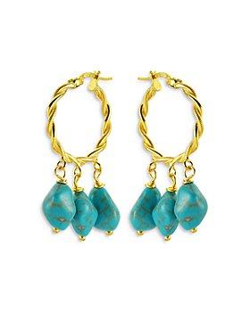 Maison Irem - Hang Loose Dangle Stone Dangle Hoop Earrings