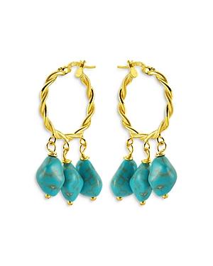 Hang Loose Dangle Stone Dangle Hoop Earrings