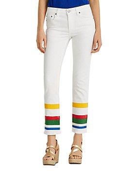 Ralph Lauren - Striped Hem Jeans in White Wash