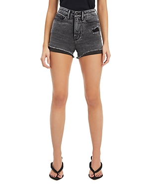 Good American Good Curve Denim Shorts in Black227