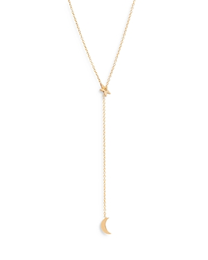 Zoë Chicco 14k Yellow Gold Midi Bitty Star & Moon Lariat Necklace, 28