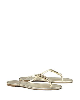 Tory Burch - Women's Miller T Monogram Knotted Strap Leather Flip-Flops