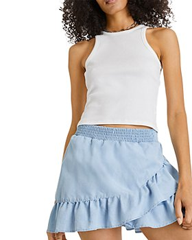 FRENCH CONNECTION - Aves Chambray Ruffled Mini Skirt