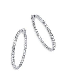 Bloomingdale's - Diamond Inside Out Hoop Earrings in 14K White Gold, 3.0 ct. t.w. - 100% Exclusive