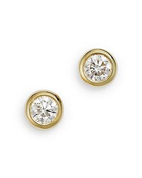 Roberto Coin - 18K Yellow Gold Diamond Bezel Stud Earrings