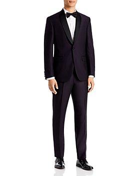 Ted Baker - Josh Dark Purple Textured Solid Regular Fit Tuxedo Jacket & Pants