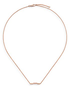"""Gucci - 18K Rose Gold Link To Love Bar Necklace, 17.7"""""""