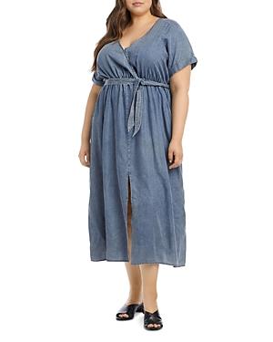 Cuffed Sleeve Chambray Dress