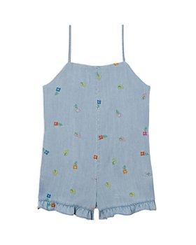 Stella McCartney - Girls' Embroidered Denim Romper - Little Kid, Big Kid