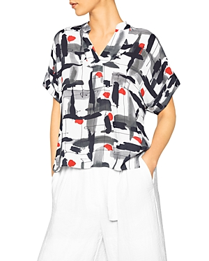 Henley Abstract Print Top