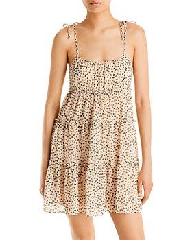 AQUA - Leopard Print Tiered Mini Dress - 100% Exclusive