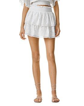 Alice and Olivia - Jojo Embroidered Ruffle Mini Skirt