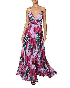 Rose Print Pleated Maxi Dress