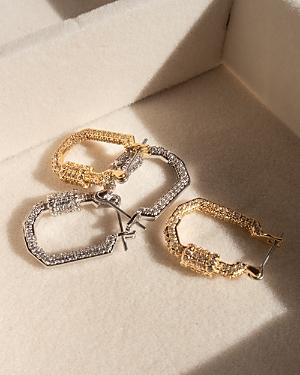 Pave Carabiner Hoop Earrings in Gold Tone
