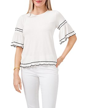 VINCE CAMUTO - Embroidered Bell Sleeve Top