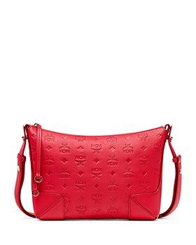 MCM - Klara Embossed Monogram Medium Leather Shoulder Bag