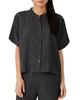 Eileen Fisher - Mandarin Collar Short Sleeve Shirt