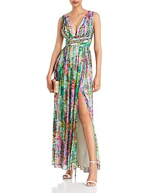 Pleated Chiffon Print Dress