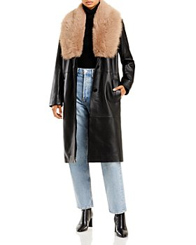 Nour Hammour - Star Is Born Shearling Collar Leather Trench Coat