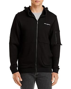 Karl Lagerfeld Paris Reflective Logo Hooded Track Jacket