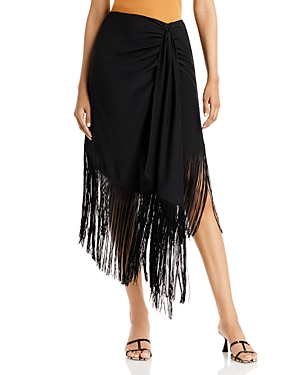 Brooklyn Asymmetric Fringe Midi Skirt