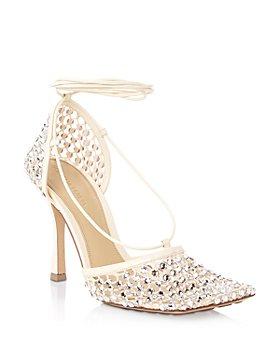 Bottega Veneta - Women's Stretch Embellished Ankle Strap High Heel Pumps