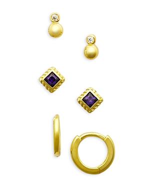 Cubic Zirconia Stud & Huggie Hoop Earrings in 14K Gold Plated Sterling Silver