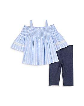 Pippa & Julie - Girls' Belle Cold Shoulder Top & Denim Leggings Set - Little Kid