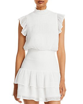 AQUA - Ruffle Short Sleeve Smocked Mini Dress - 100% Exclusive
