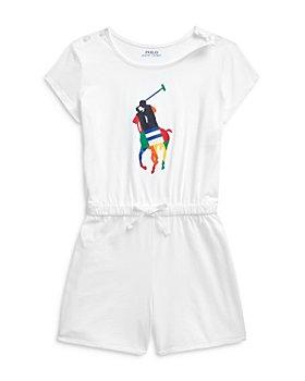 Ralph Lauren - Girls' Big Pony Cotton Romper - Little Kid, Big Kid