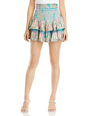 Smocked Ruffle Mini Skirt