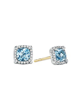 David Yurman - Sterling Silver Chateline Blue Topaz & Diamond Stud Earrings - 100% Exclusive