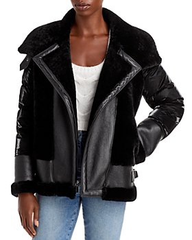 Dawn Levy - Leather Shearling Mixed Media Moto Jacket