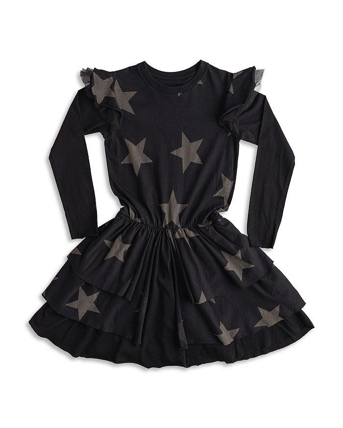 NUNUNU - Girls' Star Layered Long Sleeve Dress - Little Kid, Big Kid