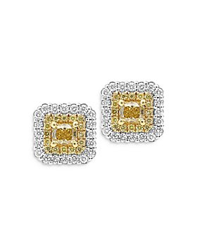 Bloomingdale's - Yellow & White Diamond Halo Square Stud Earrings in 18K White & Yellow Gold - 100% Exclusive