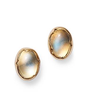 18K Yellow Gold Moonstone Egg Stud Earrings