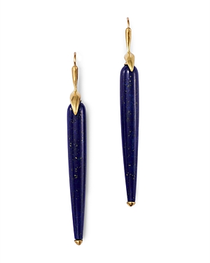 18K Yellow Gold Lapis Drop Earrings
