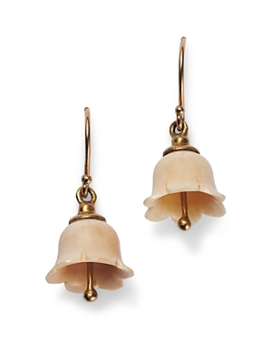 18K Yellow Gold Fossil Mammoth Ivory Lily of the Valley Drop Earrings