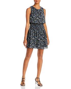 AQUA - Floral Print Smocked Dress - 100% Exclusive