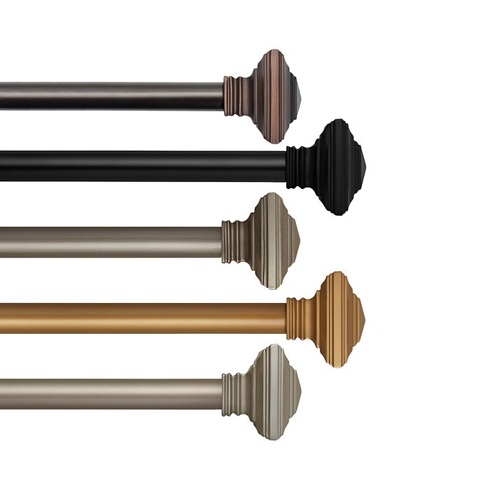 Elrene Home Fashions - Florence Adjustable Curtain Rods with Square Finials