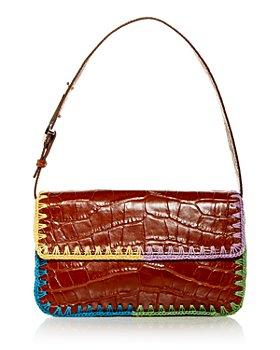 STAUD - Tommy Croc Embossed Crochet Edge Shoulder Bag