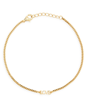 Love Curb Chain Bracelet in 14K Gold Plated Sterling Silver