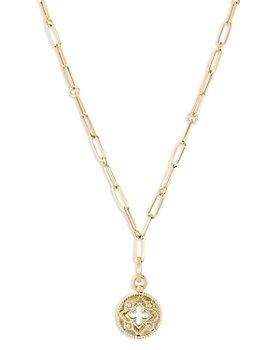 """Roberto Coin - 18K Yellow Gold Venetian Princess Diamond Open Floral Medallion Pendant Necklace, 19"""""""