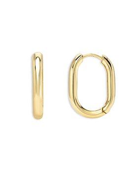 Zoe Lev -  14K Yellow Gold Thick Oval Hoop Earrings