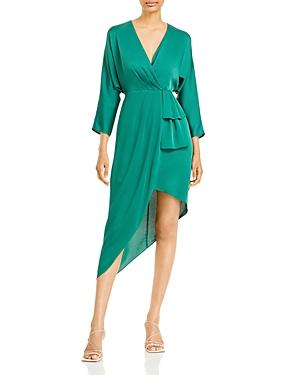 Satin Asymmetric Hem Dress