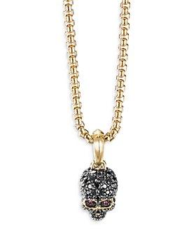 David Yurman - Men's 18K Yellow Gold Pavé Skull Amulet with Ruby & Diamonds